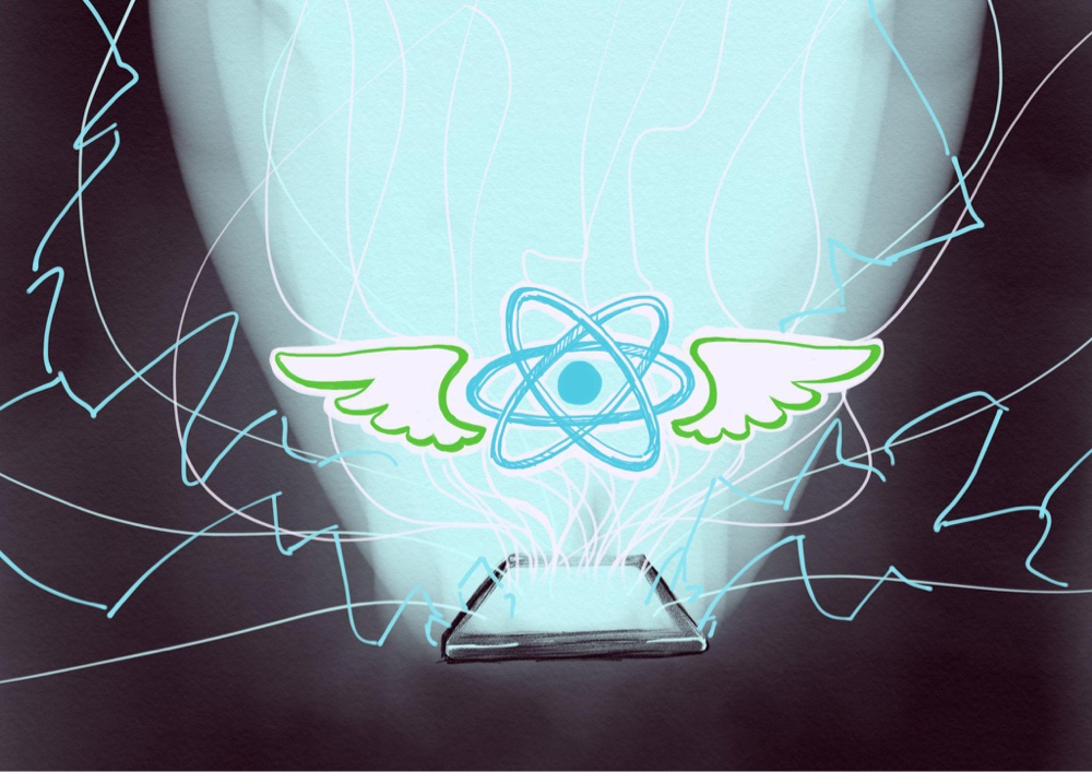 Illustration of the Hermes and React Native logos joined into a winged fury, rising in a crashing electrical storm from a lone, glowing, presumably Android phone.